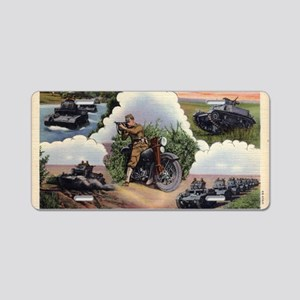 WWII - US - tanks and bike  Aluminum License Plate