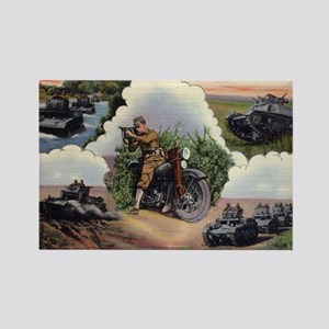 WWII - US - tanks and bike w Tho Rectangle Magnet