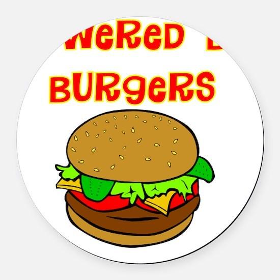 powered by Burgers DARKS Round Car Magnet
