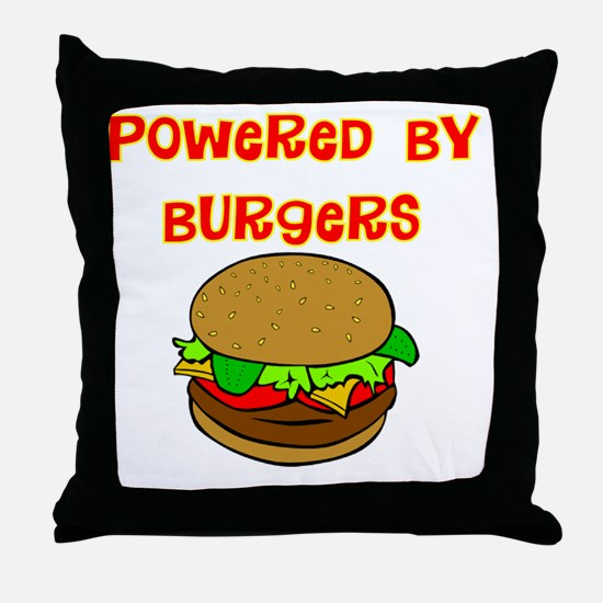 powered by Burgers DARKS Throw Pillow
