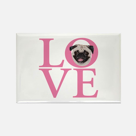 Love Pug - Rectangle Magnet