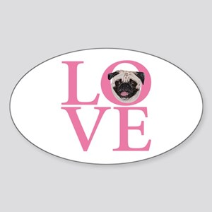 Love Pug - Sticker (Oval)