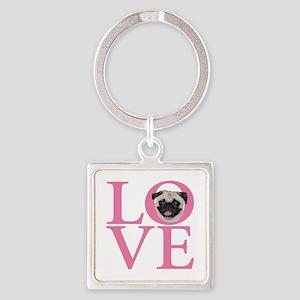 Love Pug - Square Keychain