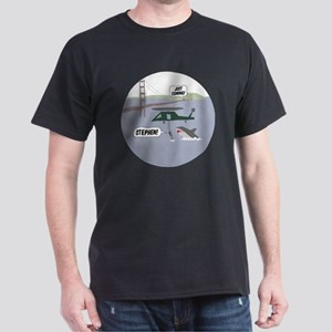 justcoming-shark-helicopter-badge Dark T-Shirt