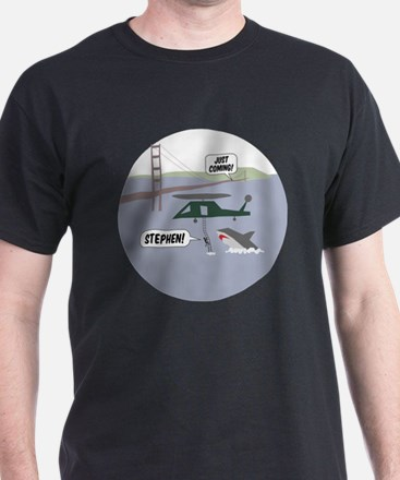 justcoming-shark-helicopter-badge T-Shirt