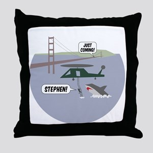 justcoming-shark-helicopter-badge Throw Pillow