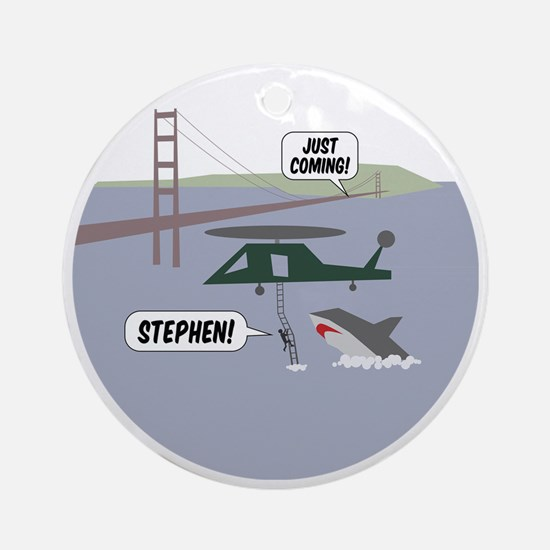 justcoming-shark-helicopter-badge Round Ornament