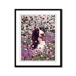 Lady Brittany Spaniel Flowers Framed Panel Print