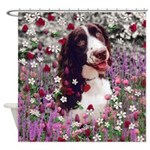Lady Brittany Spaniel Flowers Shower Curtain