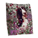 Lady Brittany Spaniel Flowers Burlap Throw Pillow