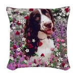 Lady Brittany Spaniel Flowers Woven Throw Pillow