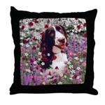 Lady Brittany Spaniel Flowers Throw Pillow