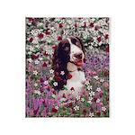 Lady Brittany Spaniel Flowers Throw Blanket