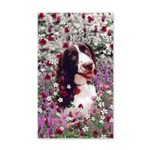 Lady Brittany Spaniel Flowers 20x12 Wall Decal