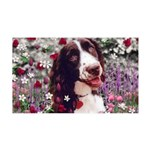 Lady Brittany Spaniel Flowers 35x21 Wall Decal