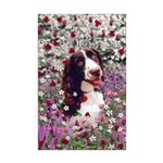 Lady Brittany Spaniel Flowers Mini Poster Print
