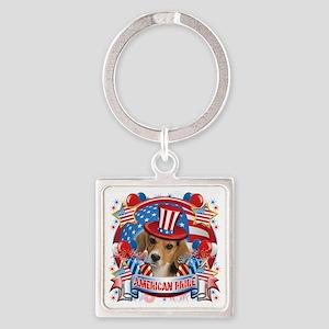 American Pride Beagle Square Keychain