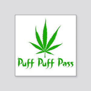 "puffpuffpassLeafy Square Sticker 3"" x 3"""