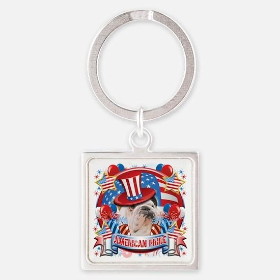 American Pride Bulldog Square Keychain