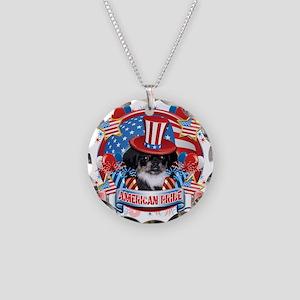 American Pride Pekingese Necklace Circle Charm