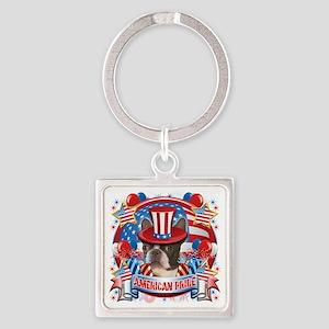 American Pride Boston Terrier Square Keychain
