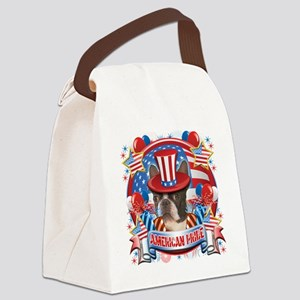 American Pride Boston Terrier Canvas Lunch Bag