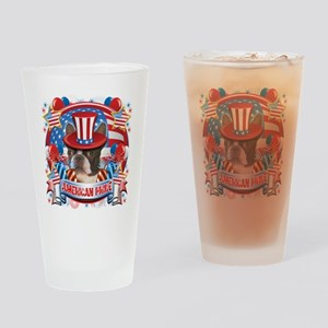 American Pride Boston Terrier Drinking Glass