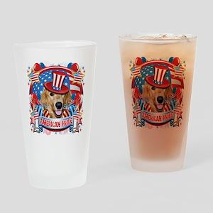 American Pride Golden Retriever Drinking Glass