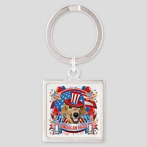 American Pride Golden Retriever Square Keychain