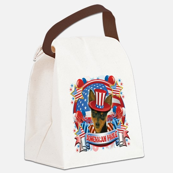 American Pride Min Pin Canvas Lunch Bag