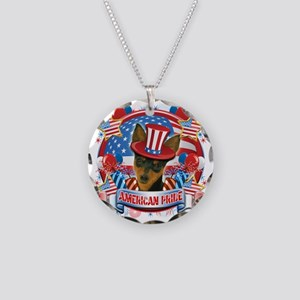 American Pride Min Pin Necklace Circle Charm
