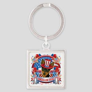 American Pride Min Pin Square Keychain