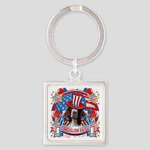 American Pride Springer Spaniel Square Keychain