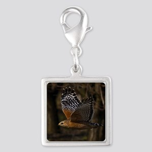 (15) Red Shouldered Hawk Flyi Silver Square Charm