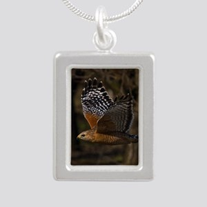 (15) Red Shouldered Hawk Silver Portrait Necklace