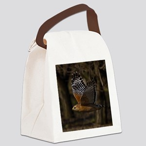 (15) Red Shouldered Hawk Flying Canvas Lunch Bag