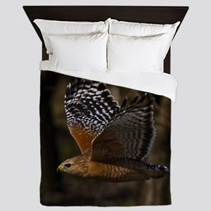 (15) Red Shouldered Hawk Flying Queen Duvet