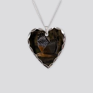 (15) Red Shouldered Hawk Flyi Necklace Heart Charm