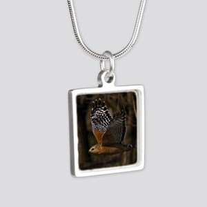 (15) Red Shouldered Hawk F Silver Square Necklace