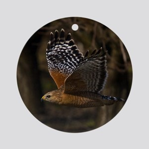 (15) Red Shouldered Hawk Flying Round Ornament