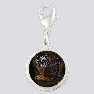 (15) Red Shouldered Hawk Flyin Silver Round Charm