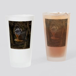 (15) Red Shouldered Hawk Flying Drinking Glass