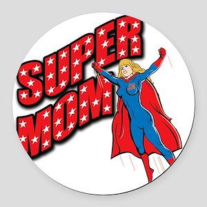 Super Mom Round Car Magnet