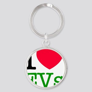 I Love Electric Vehicles Round Keychain