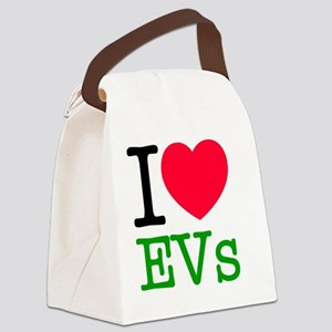I Love Electric Vehicles Canvas Lunch Bag