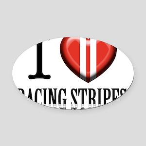 I-heart-racing-stripes Oval Car Magnet