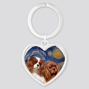 J-ORN-Starry-Two Cavaliers-BL+R Heart Keychain