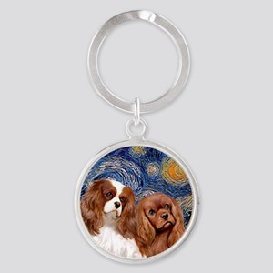 J-ORN-Starry-Two Cavaliers-BL+R Round Keychain