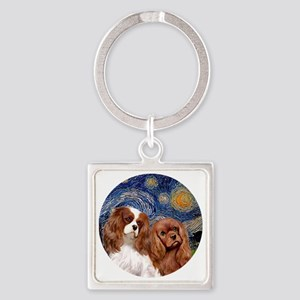 J-ORN-Starry-Two Cavaliers-BL+R Square Keychain