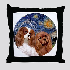 J-ORN-Starry-Two Cavaliers-BL+R Throw Pillow